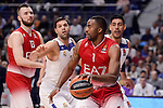 Real Madrid's Felipe Reyes and Gustavo Ayon and EA7 Emporio Armani Milan's Jamel Mclean and Milan Macvan during Turkish Airlines Euroleage match between Real Madrid and EA7 Emporio Armani Milan at Wizink Center in Madrid, Spain. January 27, 2017. (ALTERPHOTOS/BorjaB.Hojas)