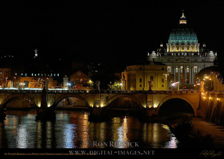 Ponte sant'Angelo and St Peter's Basilica at night from Castel sant'Angelo Rome