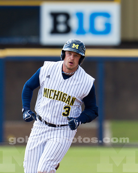 The University of Michigan baseball team lost in both games of a double header, 6-5 in 11 innings and 8-5, at the Wilpon Complex in Ann Arbor, Mich., on April 21, 2012.