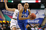 04 March 2016: Duke's Azura Stevens (11) and Notre Dame's Michaela Mabrey (behind). The Duke University Blue Devils played the University of University of Notre Dame Fighting Irish at the Greensboro Coliseum in Greensboro, North Carolina in an Atlantic Coast Conference Women's Basketball Tournament Quarterfinal and a 2015-16 NCAA Division I Women's Basketball game. Notre Dame won the game 83-54.