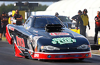 Sept. 1, 2013; Clermont, IN, USA: NHRA top alcohol funny car driver Tony Bartone during qualifying for the US Nationals at Lucas Oil Raceway. Mandatory Credit: Mark J. Rebilas-