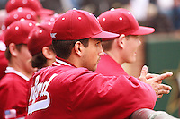 NASHVILLE, TENNESSEE-Feb. 27, 2011:  Sahil Bloom of Stanford observes the opposing pitcher during the game at Vanderbilt.  Stanford defeated Vanderbilt 5-2.