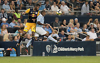 Kansas City, KS - Wednesday September 20, 2017: Fidel Escobar, Jimmy Medranda during the 2017 U.S. Open Cup Final Championship game between Sporting Kansas City and the New York Red Bulls at Children's Mercy Park.