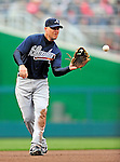 31 March 2011: Atlanta Braves third baseman Chipper Jones in action during Opening Day play against the Washington Nationals at Nationals Park in Washington, District of Columbia. The Braves shut out the Nationals 2-0 to start off the 2011 Major League Baseball season. Mandatory Credit: Ed Wolfstein Photo
