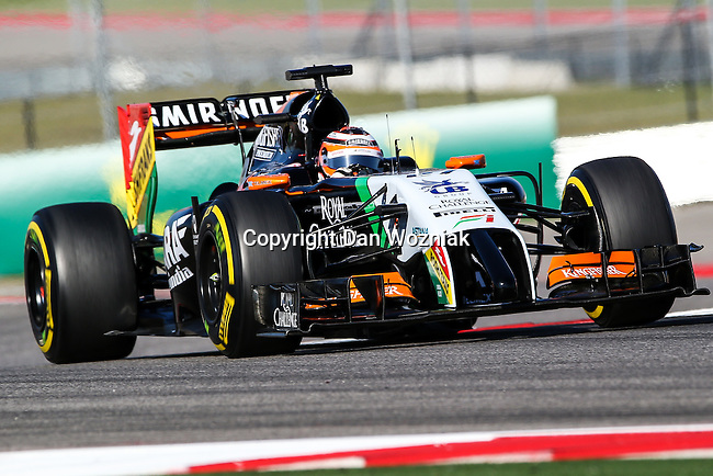 NICO ROSBERG (27) driver of the Sahara Force India F1 Team car in action during the last practice before the Formula 1 United States Grand Prix race at the Circuit of the Americas race track in Austin,Texas.