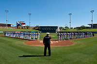 Chief Petty Officer, Stephen Powell performs the National Anthem before the Arizona Fall League Championship Game between the Salt River Rafters and Surprise Saguaros on October 26, 2019 at Salt River Fields at Talking Stick in Scottsdale, Arizona. The Rafters defeated the Saguaros 5-1. (Zachary Lucy/Four Seam Images)