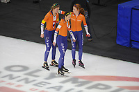 SPEEDSKATING: CALGARY: Olympic Oval, 02-12-2017, ISU World Cup, Team Pursuit Ladies, ©Lotte van Beek (NED), Marrit Leenstra (NED), Antoinette de Jong (NED), photo Martin de Jong
