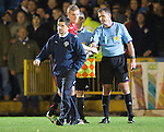 Morton v St Johnstone....30.10.13   Scottish League Cup Quarter Final<br /> Allan Moore walks away from ref John McKendrick at full time<br /> Picture by Graeme Hart.<br /> Copyright Perthshire Picture Agency<br /> Tel: 01738 623350  Mobile: 07990 594431