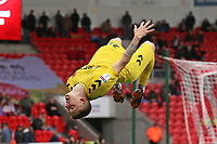 Head over heels:- Fleetwood Town's Ashley Hunter celebrates scoring his side's fourth goal <br /> <br /> Photographer David Shipman/CameraSport<br /> <br /> The EFL Sky Bet League One - Doncaster Rovers v Fleetwood Town - Saturday 6th October 2018 - Keepmoat Stadium - Doncaster<br /> <br /> World Copyright © 2018 CameraSport. All rights reserved. 43 Linden Ave. Countesthorpe. Leicester. England. LE8 5PG - Tel: +44 (0) 116 277 4147 - admin@camerasport.com - www.camerasport.com