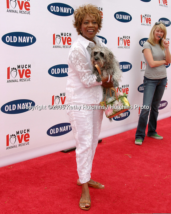 Alfre Woodard and her dog.Much Love Animal Rescue Event.Los Angeles, CA.April 29, 2006.©2006 Kathy Hutchins / Hutchins Photo..