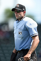 Umpire Alex Mackay in between innings during a game between the St. Lucie Mets and Bradenton Marauders on April 12, 2015 at McKechnie Field in Bradenton, Florida.  Bradenton defeated St. Lucie 7-5.  (Mike Janes/Four Seam Images)