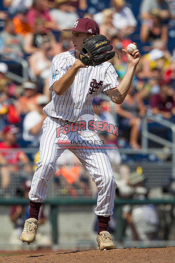 Mississippi State pitcher Ross Mitchell (48) in action during Game 11 of the 2013 Men's College World Series against the Oregon State Beavers on June 21, 2013 at TD Ameritrade Park in Omaha, Nebraska. The Bulldogs defeated the Beavers 4-1, to reach the CWS Final and eliminating Oregon State from the tournament. (Andrew Woolley/Four Seam Images)