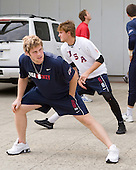 Kenny Ryan (US - 20), Cam Fowler (US - 16) (Carlson) - Team USA warms up outside the rinks prior to their fourth game against Team Russia during the 2009 USA Hockey National Junior Evaluation Camp on Saturday, August 15, 2009, in Lake Placid, New York.