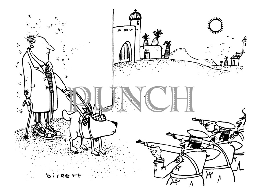 (A blind man with a guide dog faces a firing squad. The dog is blindfolded but the man is not)