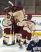 Ryan Fitzgerald (BC - 19), Casey Fitzgerald (BC - 5), Michael Campoli (BC - 6), Austin Cangelosi (BC - 9) - The Boston College Eagles defeated the University of Notre Dame Fighting Irish 6-4 (EN) on Saturday, January 28, 2017, at Kelley Rink in Conte Forum in Chestnut Hill, Massachusetts.The Boston College Eagles defeated the University of Notre Dame Fighting Irish 6-4 (EN) on Saturday, January 28, 2017, at Kelley Rink in Conte Forum in Chestnut Hill, Massachusetts.