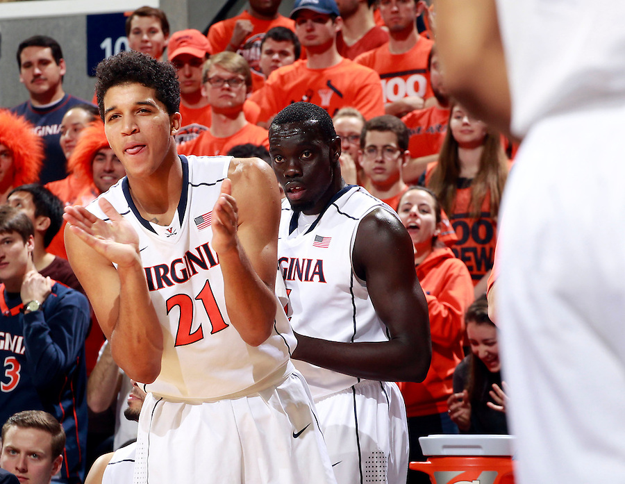 Virginia forward Isaiah Wilkins (21) reacts to a play during an ACC basketball game Jan. 13, 2015 in Charlottesville, VA Virginia won 65-42.