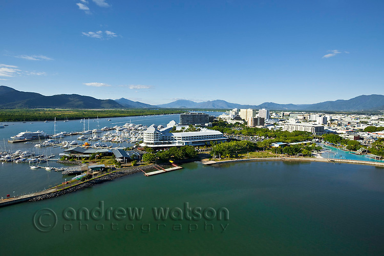 Aerial view of waterfront and city skyline.  Cairns, Queensland, Australia.