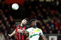 Diego Rico of Bournemouth and Alexander Tettey of Norwich City go for the aerial ball during AFC Bournemouth vs Norwich City, Caraboa Cup Football at the Vitality Stadium on 30th October 2018