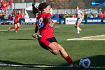 KANSAS CITY, MO - DECEMBER 02: Jada Scott (28) of the University of Central Missouri sets up to hit a cross during the Division II Women's Soccer Championship held at the Swope Soccer Village on December 2, 2017 in Kansas City, Missouri. (Photo by Doug Stroud/NCAA Photos/NCAA Photos via Getty Images)