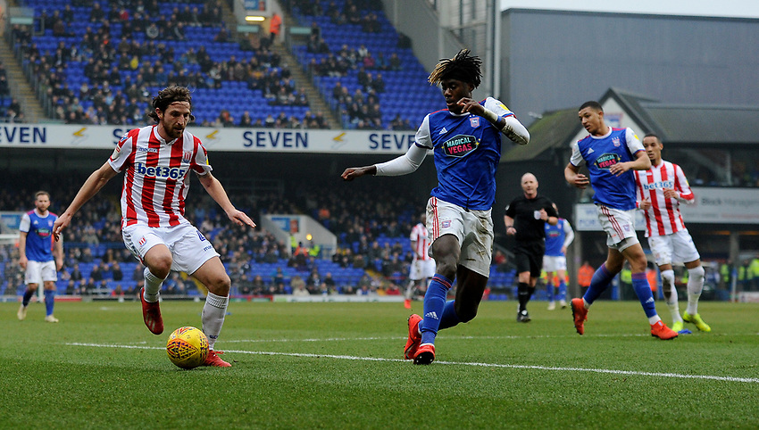 Stoke City's Joe Allen battles with  Ipswich Town's Trevoh Chalobah<br /> <br /> Photographer Hannah Fountain/CameraSport<br /> <br /> The EFL Sky Bet Championship - Ipswich Town v Stoke City - Saturday 16th February 2019 - Portman Road - Ipswich<br /> <br /> World Copyright © 2019 CameraSport. All rights reserved. 43 Linden Ave. Countesthorpe. Leicester. England. LE8 5PG - Tel: +44 (0) 116 277 4147 - admin@camerasport.com - www.camerasport.com