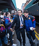 Lionel Messi arrives at Barcelona's city centre hotel