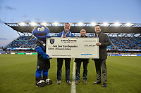 San Jose, CA - Saturday March 24, 2018: Mobilitie check presentation during an international friendly between the San Jose Earthquakes and Club Leon FC at Avaya Stadium.
