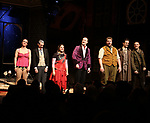 Charlie Russell, Jonathan Sayer, Nancy Zamit, Greg Tannahill, Henry Lewis, Henry Shields and Dave Hearn from the cast of 'The Play That Goes Wrong' during the Broadway Opening Night curtain call bows at the Lyceum Theatre on April 2, 2017 in New York City.