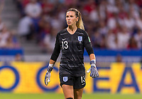 LYON,  - JULY 2: Carly Telford #13 watches the field during a game between England and USWNT at Stade de Lyon on July 2, 2019 in Lyon, France.