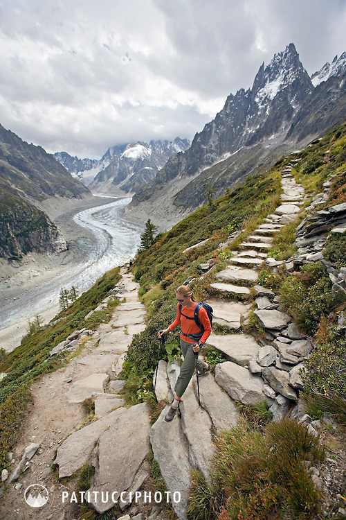 Amy Rasic hiking on the trails high above Chamonix's Mer de Glace. The trail is part of the Grand Balcony system and starts at the Montenvers train station