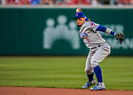 7 October 2017: Chicago Cubs second baseman Javier Baez gets the first out in the bottom of the second inning against the Washington Nationals at Nationals Park in Washington, DC. The Nationals defeated the Cubs 6-3 and even their best of five Postseason series at one game apiece. Mandatory Credit: Ed Wolfstein Photo *** RAW (NEF) Image File Available ***
