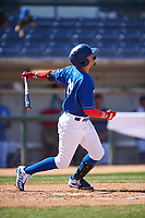 Rancho Cucamonga Quakes Miguel Vargas (29) follows through on his swing during a California League game against the Inland Empire 66ers at LoanMart Field on September 2, 2019 in Rancho Cucamonga, California. Rancho Cucamonga defeated Inland Empire 4-3. (Zachary Lucy/Four Seam Images)