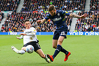 Leeds United's Stuart Dallas battles with Derby County's Harry Wilson<br /> <br /> Photographer Alex Dodd/CameraSport<br /> <br /> The EFL Sky Bet Championship Play-off  First Leg - Derby County v Leeds United - Thursday 9th May 2019 - Pride Park - Derby<br /> <br /> World Copyright © 2019 CameraSport. All rights reserved. 43 Linden Ave. Countesthorpe. Leicester. England. LE8 5PG - Tel: +44 (0) 116 277 4147 - admin@camerasport.com - www.camerasport.com