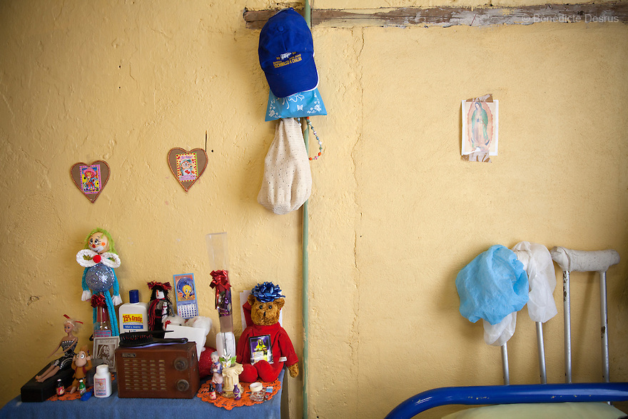 The personal belongings of Patricia, a resident of Casa Xochiquetzal, in her bedroom at the shelter in Mexico City, Mexico on May 24, 2013. Casa Xochiquetzal is a shelter for elderly sex workers in Mexico City. It gives the women refuge, food, health services, a space to learn about their human rights and courses to help them rediscover their self-confidence and deal with traumatic aspects of their lives. Casa Xochiquetzal provides a space to age with dignity for a group of vulnerable women who are often invisible to society at large. It is the only such shelter existing in Latin America. Photo by Bénédicte Desrus