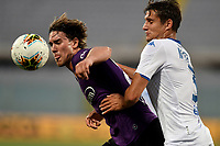 Dusan Vlahovic of Fiorentina and Ales Mateju of Brescia Calcio compete for the ball during the Serie A football match between ACF Fiorentina and Brescia Calcio at Artemio Franchi stadium in Florence ( Italy ), June 22th, 2020. Play resumes behind closed doors following the outbreak of the coronavirus disease. <br /> Photo Antonietta Baldassarre / Insidefoto