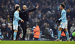 Manchester City Manager Josep Guardiola confusion over substitution with Bernardo Silva of Manchester City and Leroy Sane of Manchester City during the premier league match at the Etihad Stadium, Manchester. Picture date 16th December 2017. Picture credit should read: Robin ParkerSportimage