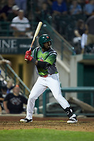 Dwanya Williams-Sutton (11) of the Fort Wayne TinCaps at bat against the West Michigan Whitecaps at Parkview Field on August 5, 2019 in Fort Wayne, Indiana. The TinCaps defeated the Whitecaps 9-3. (Brian Westerholt/Four Seam Images)