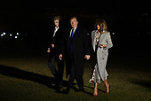 United States President Donald J. Trump, first lady Melania Trump and Barron Trump arrive at the White House February 18, 2019, in Washington, DC. after spending the weekend at Mar-a-Lago in Florida.<br /> Credit: Olivier Douliery / Pool via CNP