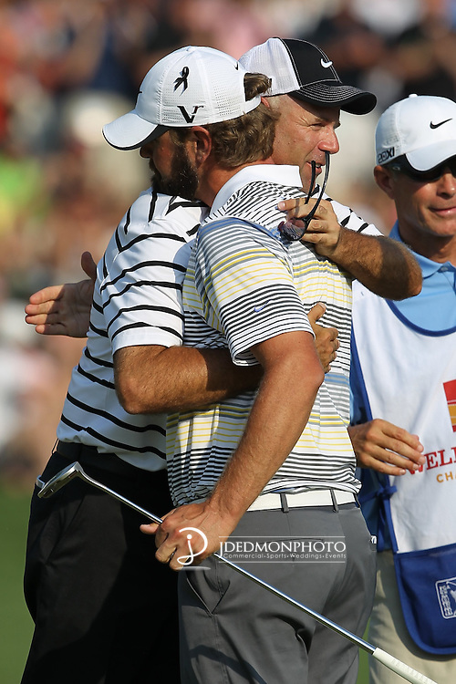 May 8,2011 - Stewart Cink congratulates Lucas Glover after taking the lead at 18 and possible the win.   Lucas Glover wins the tournament in sudden death over Jonathan Byrd at Quail Hollow Country Club,Charlotte,NC.