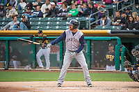 Pete Orr (10) of the Colorado Springs Sky Sox at bat against the Salt Lake Bees in Pacific Coast League action at Smith's Ballpark on May 22, 2015 in Salt Lake City, Utah.  (Stephen Smith/Four Seam Images)