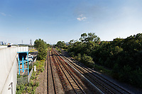 Pictured: The tracks where the stranded train is located near Margam in south Wales, UK. Wednesday 03 July 2019<br /> Re: Two rail workers have died after being hit by a passenger train between Port Talbot Parkway and Bridgend stations in south Wales, UK.<br /> The pair were struck near Margam by the Swansea to London Paddington train at about 10am.<br /> They were pronounced dead at the scene and a third person was treated for shock, but was not injured.