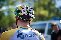 Simon Gerrans (AUS/Orica-GreenEDGE) crashed hard after Mark Cavendish (GBR/OmegaPharma-Quickstep) brought him down in the final sprint up the finish. Simon came out relatively ok, but his helmet clearly saved him from (much) worse.<br /> <br /> 2014 Tour de France<br /> stage 1: Leeds - Harrogate (190.5km)
