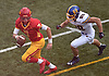 Anthony Pecorella #7, Chaminade quarterback, left, gets forced out of the pocket by Daniel Wilson #88 of Kellenberg, who sacked him on the play during the third quarter of an NSCHSAA varsity football game at Chaminade High School in Mineola on Sunday, Oct. 14, 2018. Kellenberg won by a score of 42-14.