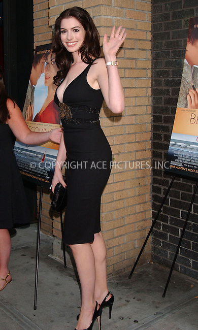 "WWW.ACEPIXS.COM . . . . .  ....July 24 2007, New York City....Anne Hathaway attending the premiere of ""Becoming Jane"" at the Landmark Sunshine Cinema in Manhattan.....Please byline: KRISTIN CALLAHAN - ACEPIXS.COM..... *** ***..Ace Pictures, Inc:  ..te: (646) 769 0430..e-mail: info@acepixs.com..web: http://www.acepixs.com"