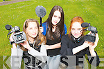LEARNING TO FILM: Students involved in the KDYS Gateway Programme learned.about different forms of media from filming to radio and TV Production at the ITT this.week. From l-r were: Michelle Moriarty, Melanie Walsh and Stephanie Walsh.