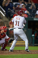 Frisco RoughRiders outfielder Preston Beck (31) at bat during a game against the Springfield Cardinals  on June 4, 2015 at Hammons Field in Springfield, Missouri.  Frisco defeated Springfield 8-7.  (Mike Janes/Four Seam Images)