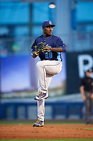 Corpus Christi Hooks relief pitcher Akeem Bostick (28) delivers a pitch during a game against the Tulsa Drillers on June 3, 2017 at ONEOK Field in Tulsa, Oklahoma.  Corpus Christi defeated Tulsa 5-3.  (Mike Janes/Four Seam Images)