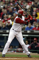 03 April 2006: Cincinnati Red's Ken Griffey Jr. bats against the Chicago Cubs during the Reds' home opener at Great American Ballpark in Cincinnati, Ohio.<br />
