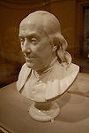 Philadelphia Museum of art, bust of Ben Franklin. Photo # 215-30605.Philadelphia, Pennsylvania, PA USA.  Photo copyright Lee Foster, 510-549-2202, lee@fostertravel.com, www.fostertravel.com.