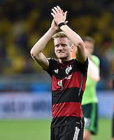 FUSSBALL WM 2014                HALBFINALE Brasilien - Deutschland          08.07.2014 Andre Schuerrle (Deutschland) jubelt nach dem Abpfiff