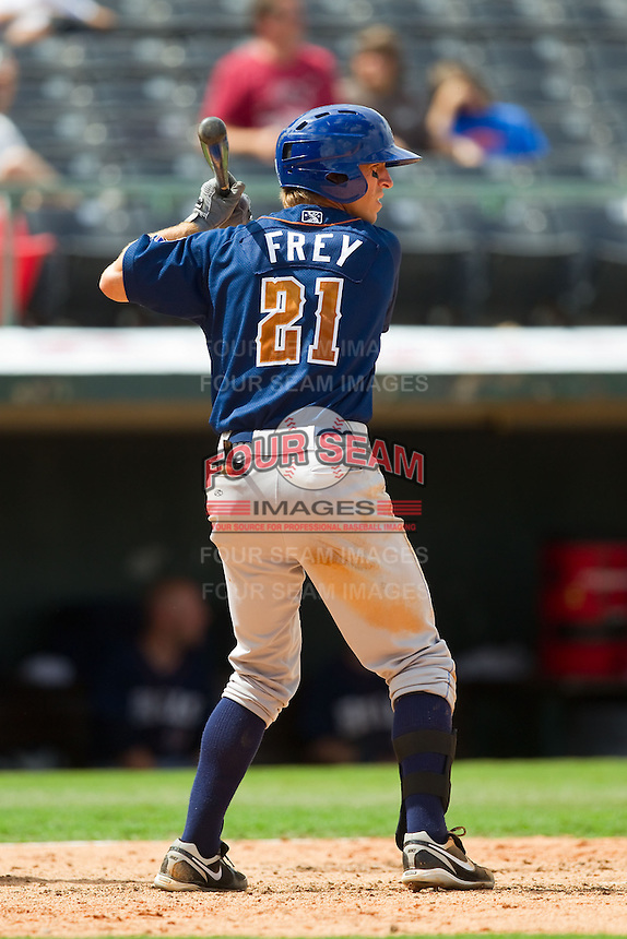 Evan Frey (21) of the Durham Bulls at bat against the Charlotte Knights at Knights Stadium on August 18, 2013 in Fort Mill, South Carolina.  The Bulls defeated the Knights 8-5 in Game One of a double-header.  (Brian Westerholt/Four Seam Images)